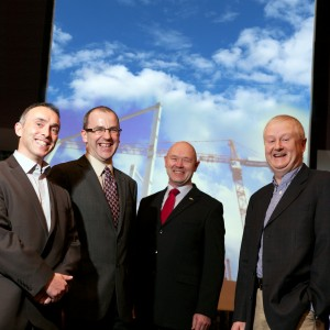 Richard O'Connor, guest speaker, pictured with John French, Lean Construction Institute, Richard Keegan, Enterprise Ireland and Mick Lynam, PM Group.