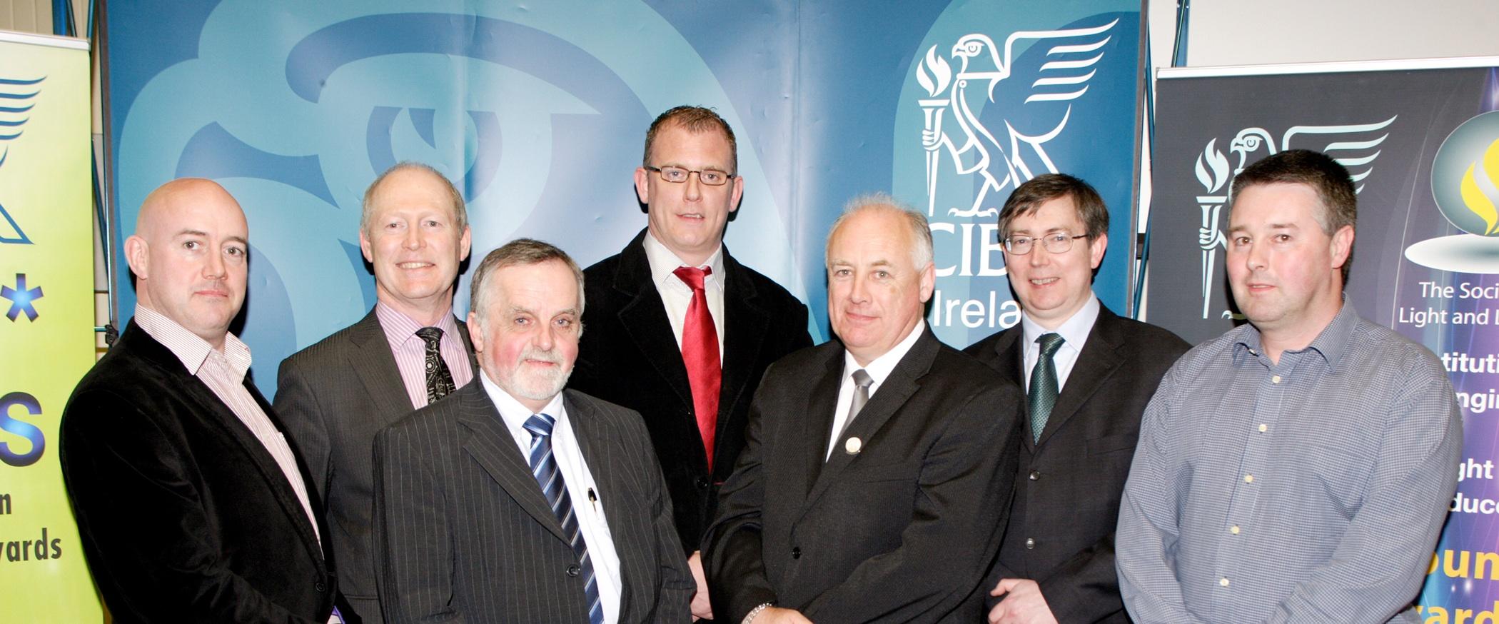 Derek Mowlds (Chairman CIBSE), Kevin O'Rourke (SEAI), Brian Geraghty(CIBSE & BGA), Justin Keane (CIBSE & John Sisk & son), Michael McNerney (CIBSE), Kevin Gaughan (DIT), Sean O'Dowd (Vice Chairman CIBSE)