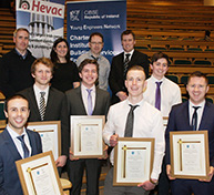 Back Row: Brian West, and CIBSE Ireland Vice-Chair with Ciara Ahern, DIT; Micheál O'Flaherty, DIT; and David Doherty, Chair, CIBSE Ireland. Middle Row, Level 8: Callum O'Toole, Runner-up with David Keogh, Winner and Sean Flynn O'Connor, Runner-up. Front Row, Level 7: Seamus Murphy, Winner with Andrew Cruise and Gerard O'Neill, both Runner-up.